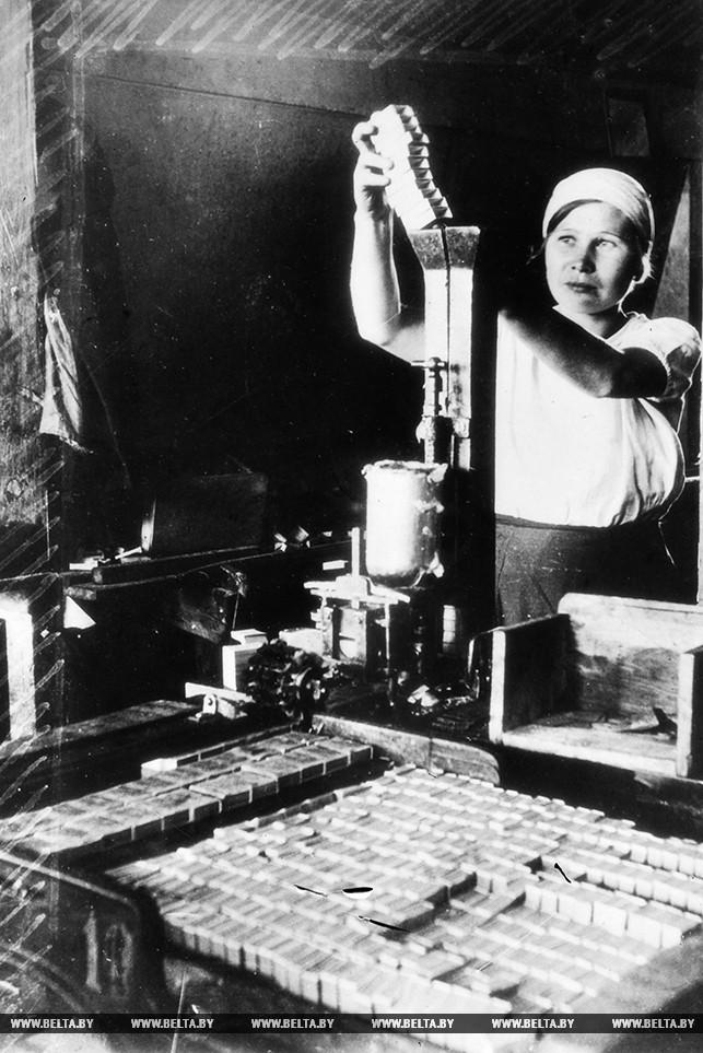 """На Новобелицкой спичечной фабрике """"Везувий"""". 1935 год"""