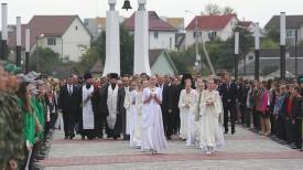 Во время торжественного мероприятия, посвященного 100-летию обороны Сморгони.