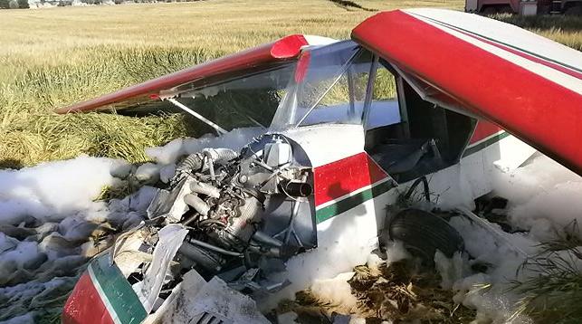 В Круглянском районе Могилевской области упал легкомоторный самолет. Фото МЧС РБ