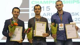 Обладатель второго места - Грант Мелкумян(Армения), победительЧемпионата Европы по быстрым шахматам Иван Попов (Россия), обладатель третьего места Вадим Разин (Украина)