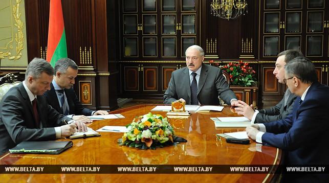 Александр Лукашенко во время приема с докладом Владимира Колтовича