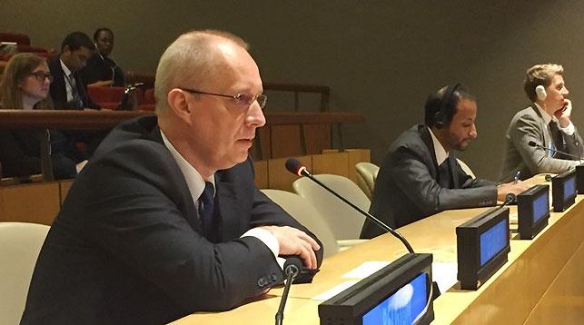 Андрей Дапкюнас во время участия в неформальном заседании Генеральной Ассамблеи ООН. Фото МИД