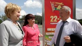 Делегаты от Витебской области Наталья Гуйвик, Людмила Добрынина и Владимир Шитько