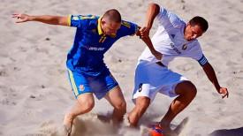 Во время матча Беларусь - Украина. Фото Белорусской федерации пляжного футбола