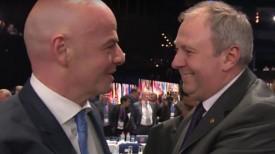 Новоизбранный президент ФИФА Джанни Инфантино и председатель АБФФ Сергей Румас