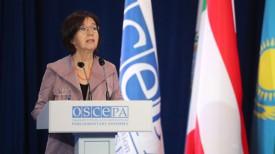 Кристин Муттонен во время выступления на заседании сессии ПА ОБСЕ