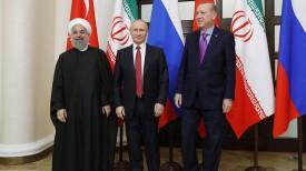 Хасан Роухани, Владимир Путин и Реджеп Тайип Эрдоган. Фото ТАСС