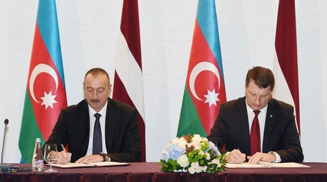 Ильхам Алиев и Раймондс Вейонис