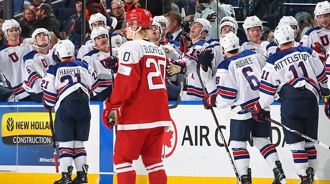 Во время матча Дания - США. Фото IIHF
