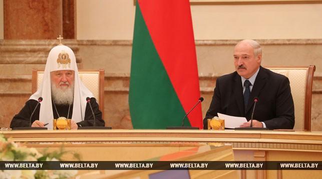 Патриарх Московский и всея Руси Кирилл и Президент Беларуси Александр Лукашенко