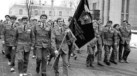 Ударный Республиканский комсомольский отряд имени XXVIII съезда ЛКСМБ отправится на возведение филиала МТЗ в Сморгонь. 1987 год