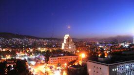 """Ракеты """"земля-воздух"""" сирийских ПВО над Дамаском. Фото Синьхуа - БЕЛТА"""