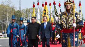 Ким Чен Ын и Мун Чжэ Ин. Фото Синьхуа-БЕЛТА