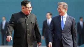 Ким Чен Ын и Мун Чжэ Ин. Фото AP