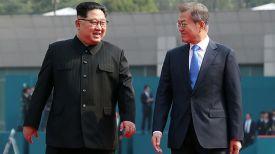 Ким Чен Ын и Мун Чжэ Ин. Фото Синьхуа - БЕЛТА