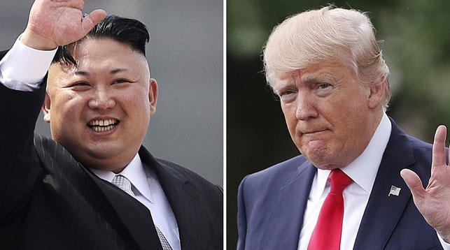 Лидер КНДР Ким Чен Ын и президент США Дональд Трамп. Фото AP