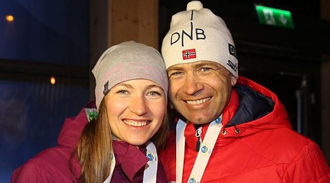 Дарья Домрачева и Уле-Эйнар Бьорндален. Фото NTB