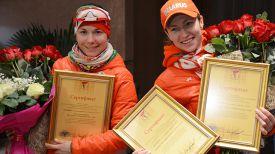 Надежда Скардино и Дарья Домрачева. Фото НОК Беларуси