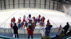 Тренировка сборной России накануне старта на Олимпиаде. Фото ФХР