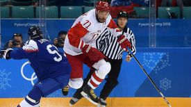 Во время матча Словакия - Олимпийские атлеты из России. Фото ФХР