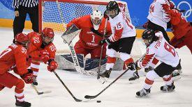 Во время матча Канада - Олимпийские атлеты из России. Фото Синьхуа - БЕЛТА