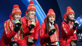 Белорусские биатлонистки с золотыми медалями