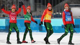 Надежда Скардино, Ирина Кривко, Динара Алимбекова и Дарья Домрачева. Фото из архива