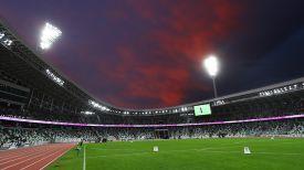 Во время церемонии открытия стадиона. Фото из архива
