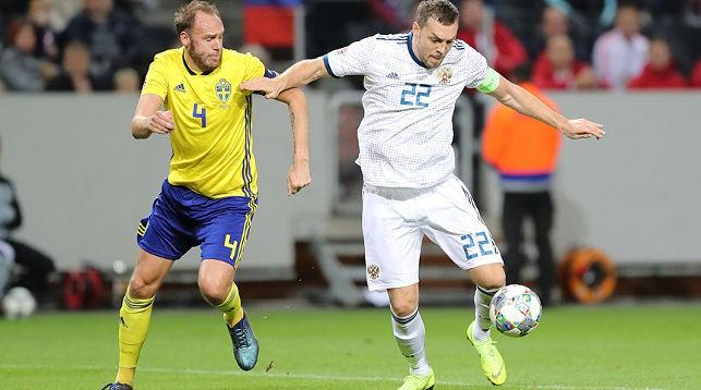 Во время матча Швеция - Россия. Фото Российского футбольного союза