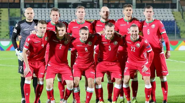 Сборная Беларуси перед началом матча в Сан-Марино. Фото АБФФ