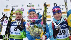 Ирина Кручинкина, Ингеле Андерссон и Анастасия Морозова. Фото IBU