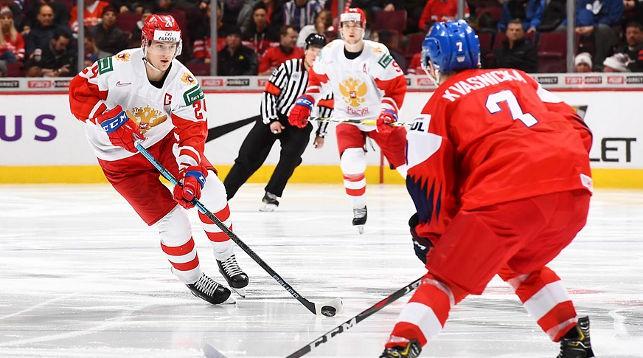 Во время матча Чехия - Россия. Фото IIHF
