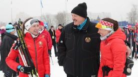 Дарья Домрачева, Александр Лукашенко и Надежда Скардино