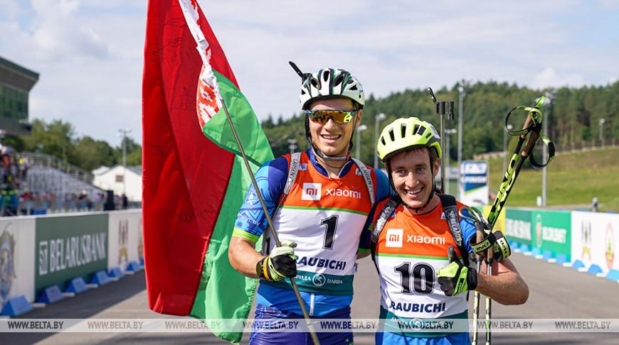Дмитрий Лазовский и Никита Лобастов на финише гонки преследования