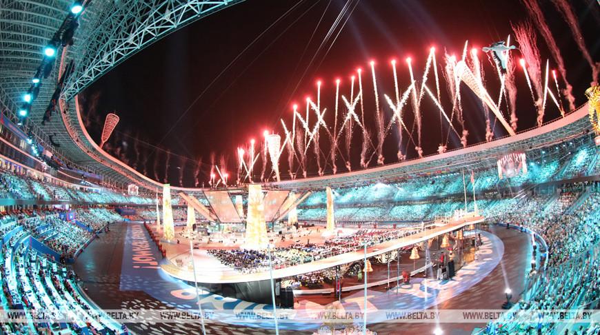 Во время церемонии закрытия II Европейских игр. Фото из архива