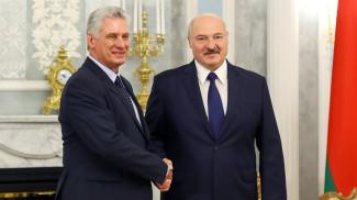 Мигель Марио Диас-Канель Бермудес и Александр Лукашенко во время проведения официальных переговоров