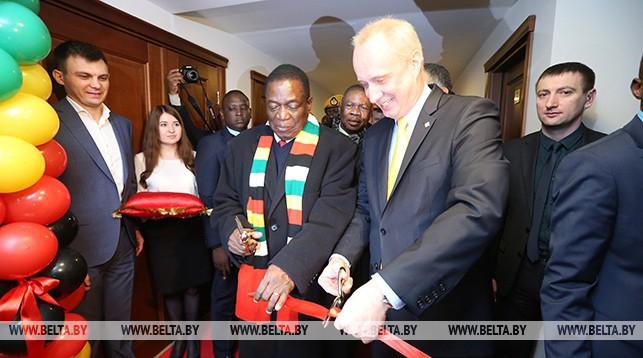 Президент Республики Зимбабве Эммерсон Мнангагва с заместителем министра иностранных дел Беларуси Андреем Дапкюнасом