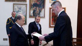 Мишель Аун и Юрий Слука. Фото twitter-аккаунта официального сайта президента Ливана