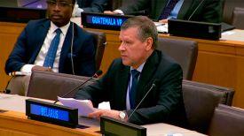 Валентин Рыбаков. Скриншот из видео Миссии Беларуси при ООН
