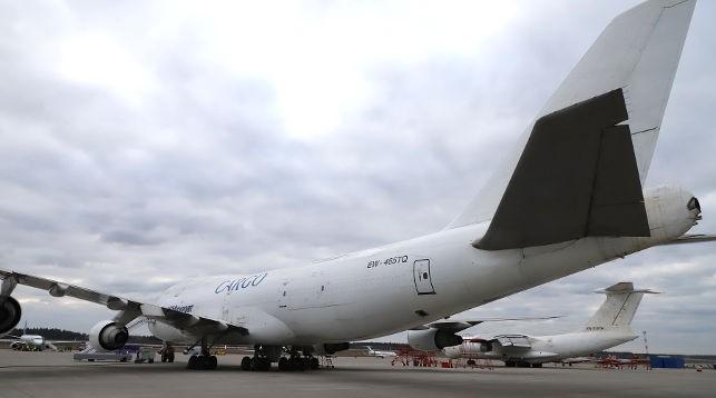 Самолет с белорусской гуманитарной помощью. Фото МЧС