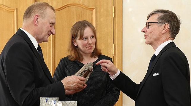 Владимир Гусаков и Юкки Мерман. Фото НАН Беларуси