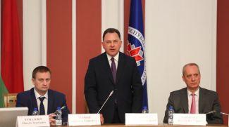 Первый заместитель премьер-министра Александр Турчин, первый заместитель министра иностранных дел Андрей Евдоченко и заместитель министра иностранных дел Андрей Дапкюнас