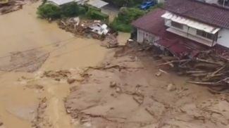 Последствия наводнения в Японии. Скриншот из видео