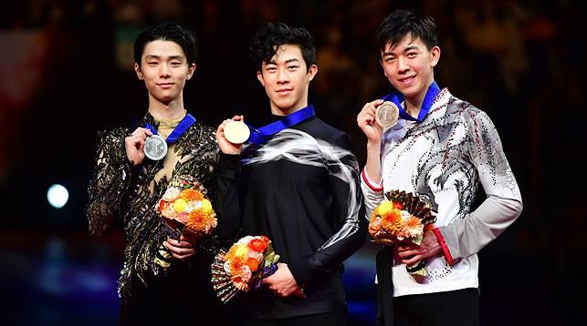 Юдзуру Ханю, Нэтан Чен и Винсент Чжоу. Фото ISU