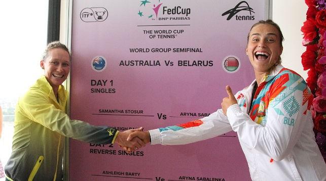 Саманта Стосур и Арина Соболенко. Фото Белорусской теннисной федерации