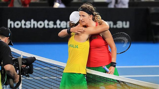 Эшли Барти и Виктория Азаренко. Фото официального сайта Кубка Федераций