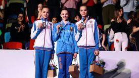 Арина Аверина, Анастасия Салос и Дина Аверина. Фото Белорусской ассоциации гимнастики
