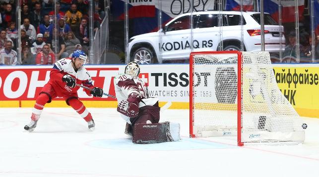 Во время матча Чехия - Латвия. Фото IIHF