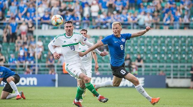 Во время матча Эстония - Северная Ирландия. Фото Эстонского футбольного союза