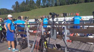 Пристрелка перед супер-спринтом. Фото   Биатлон online